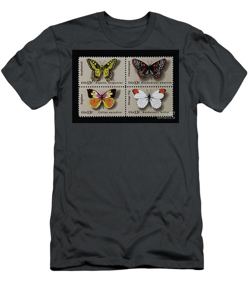 Butterflies Postage Stamp Print Men's T-Shirt (Athletic Fit)
