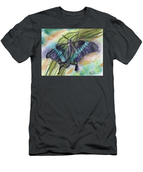 Butterfly Bamboo Black Swallowtail Men's T-Shirt (Slim Fit) by D Renee Wilson