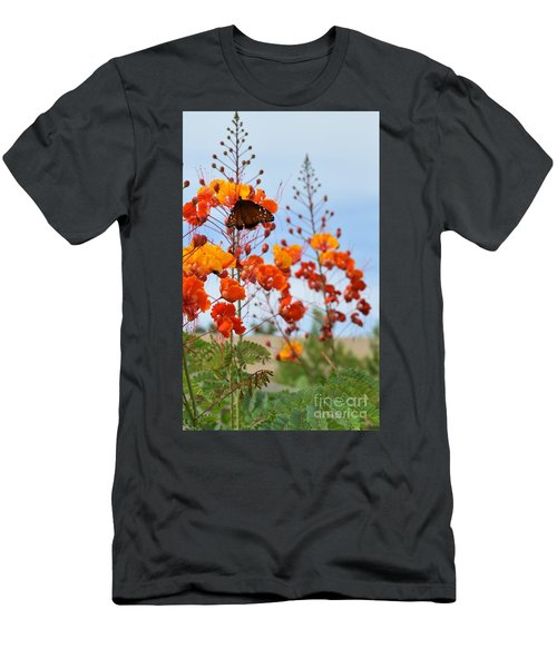 Butterfly On Bird Of Paradise Men's T-Shirt (Athletic Fit)