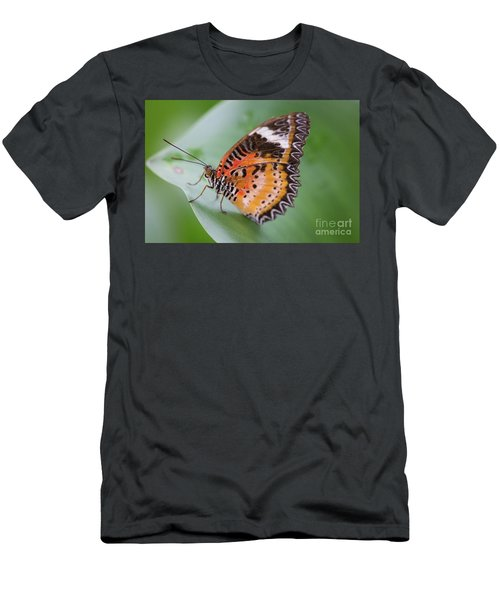 Men's T-Shirt (Athletic Fit) featuring the photograph Butterfly On The Edge Of Leaf by John Wadleigh