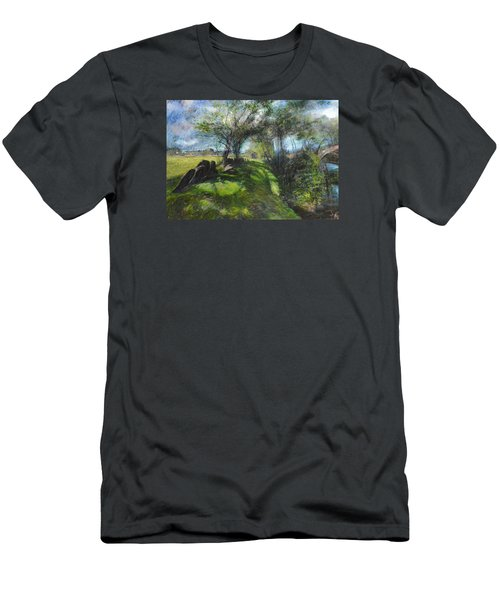 Men's T-Shirt (Slim Fit) featuring the pastel By The Dee by Harry Robertson