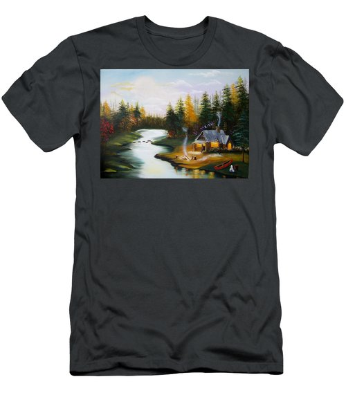 Cabin By The River Men's T-Shirt (Athletic Fit)