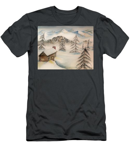 Cabin In The Rockies Men's T-Shirt (Athletic Fit)