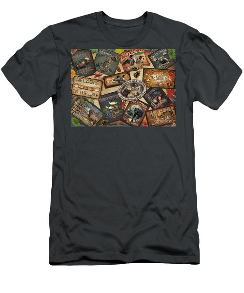 Cabin Sign Collage Men's T-Shirt (Slim Fit) by Cynthie Fisher JQ Licensing