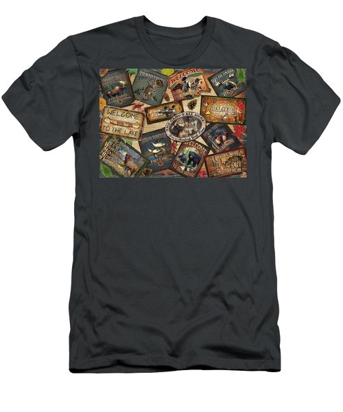 Cabin Sign Collage Men's T-Shirt (Athletic Fit)