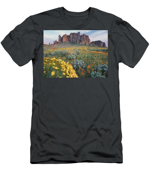 Men's T-Shirt (Athletic Fit) featuring the photograph California Brittlebush Lost Dutchman by Tim Fitzharris