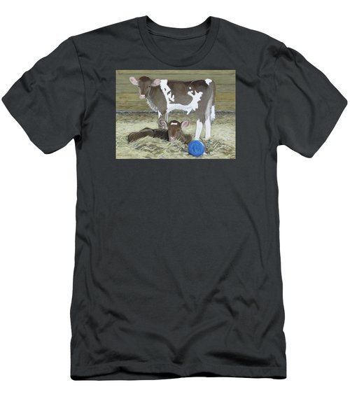 Calves Playing With A Blue Ball Men's T-Shirt (Athletic Fit)