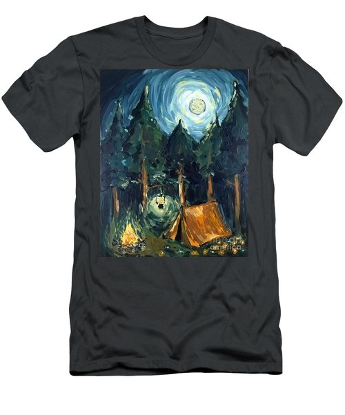 Men's T-Shirt (Athletic Fit) featuring the painting Camp At Night by Maria Langgle