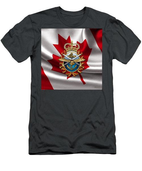 Canadian Forces Emblem Over Flag Men's T-Shirt (Athletic Fit)