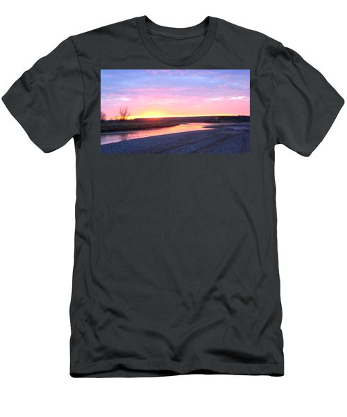 Men's T-Shirt (Athletic Fit) featuring the photograph Canadian River Sunset by Deleas Kilgore