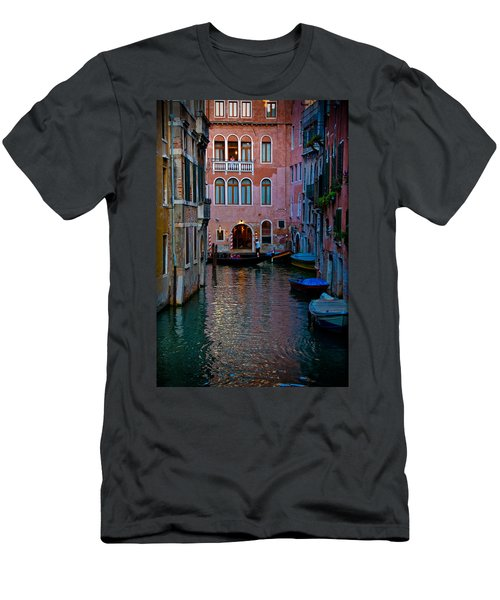 Canal At Dusk Men's T-Shirt (Slim Fit) by Harry Spitz