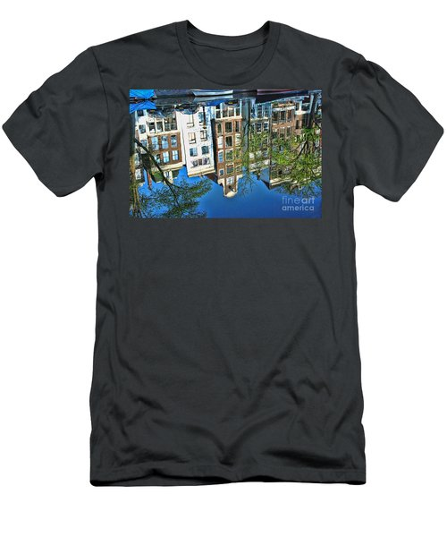 Men's T-Shirt (Slim Fit) featuring the photograph Amsterdam Canal Reflection  by Allen Beatty