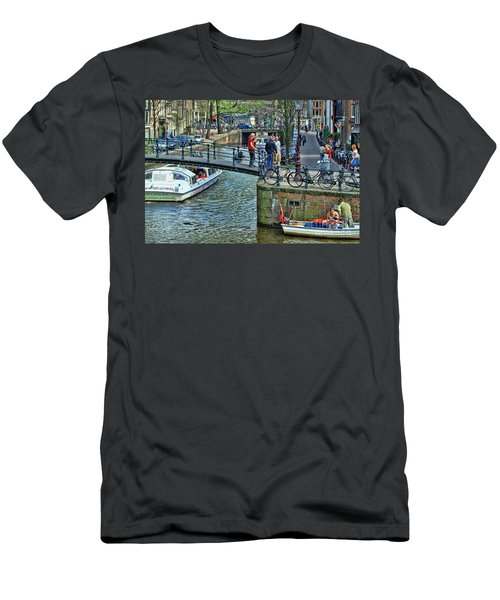 Men's T-Shirt (Slim Fit) featuring the photograph Amsterdam Canal Scene 1 by Allen Beatty