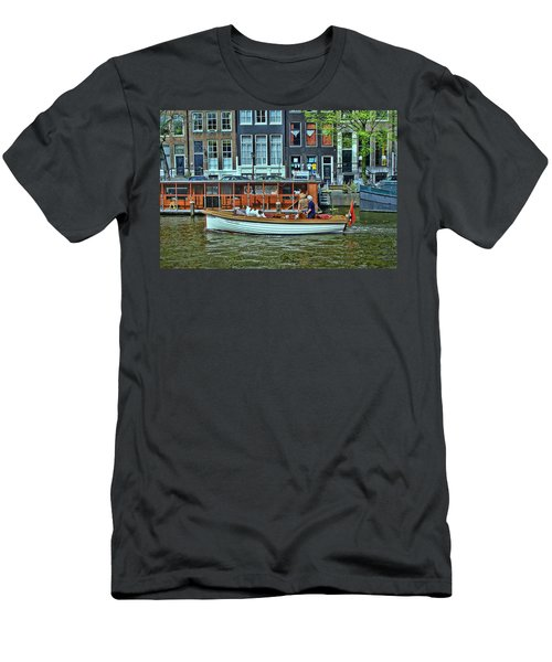 Men's T-Shirt (Slim Fit) featuring the photograph Amsterdam Canal Scene 10 by Allen Beatty