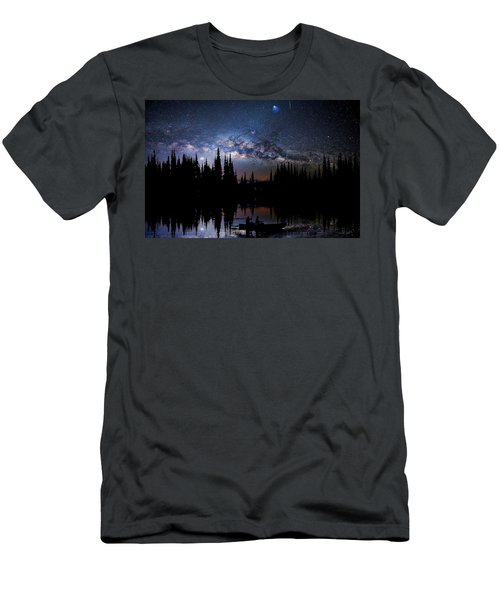 Canoeing - Milky Way - Night Scene Men's T-Shirt (Slim Fit) by Andrea Kollo