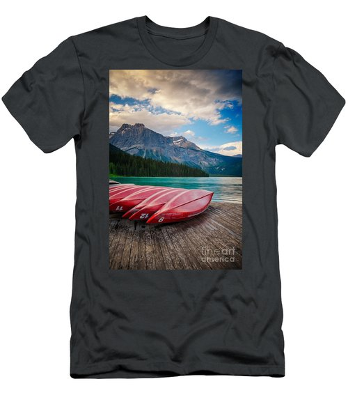 Canoes At Emerald Lake In Yoho National Park Men's T-Shirt (Athletic Fit)