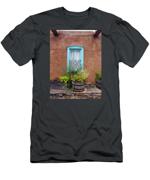 Men's T-Shirt (Slim Fit) featuring the photograph Canyon Road Blue Santa Fe by Kurt Van Wagner