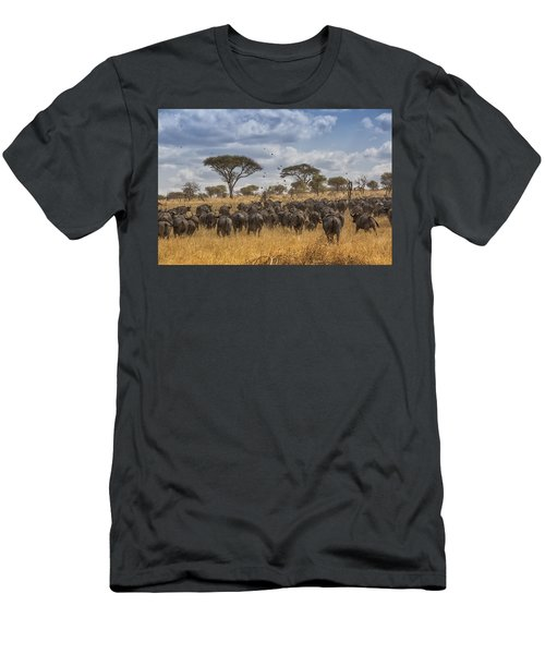 Men's T-Shirt (Slim Fit) featuring the tapestry - textile Cape Buffalo Herd by Kathy Adams Clark