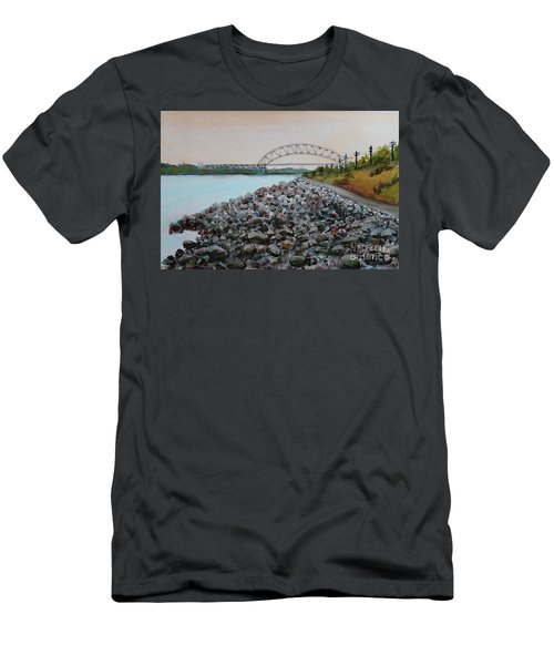 Cape Cod Canal To The Bourne Bridge Men's T-Shirt (Slim Fit) by Rita Brown