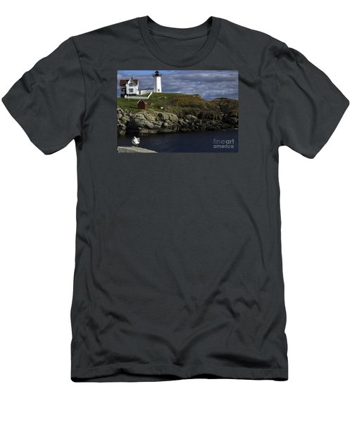 Men's T-Shirt (Slim Fit) featuring the photograph Cape Neddick Lighthouse by Mim White
