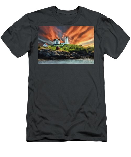 Men's T-Shirt (Slim Fit) featuring the digital art Cape Neddick Nubble Lighthouse by Lois Bryan