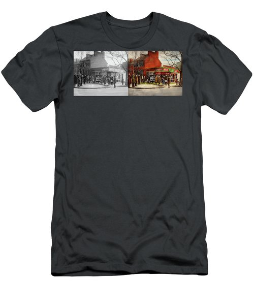 Men's T-Shirt (Slim Fit) featuring the photograph Car - Accident - Looking Out For Number One 1921 - Side By Side by Mike Savad