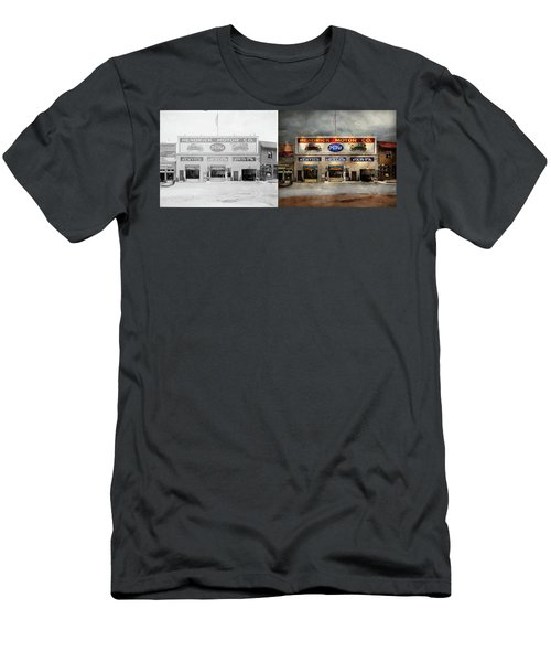 Men's T-Shirt (Slim Fit) featuring the photograph Car - Garage - Hendricks Motor Co 1928 - Side By Side by Mike Savad