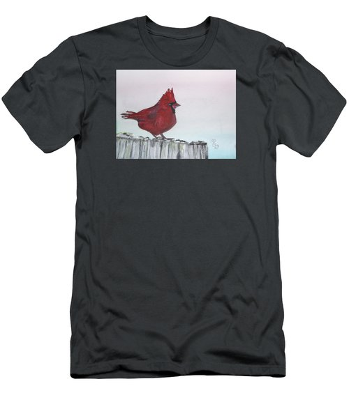 Cardinal On A Fence Post Men's T-Shirt (Athletic Fit)