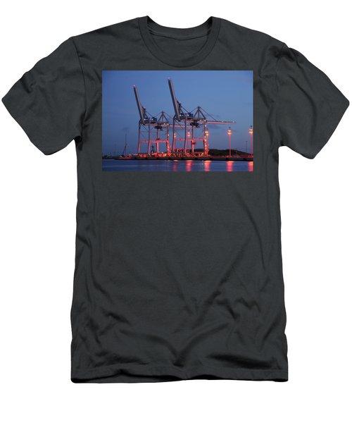 Cargo Cranes At Night Men's T-Shirt (Athletic Fit)