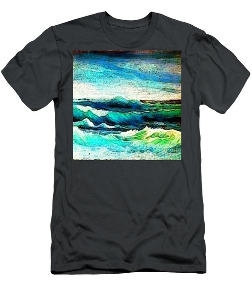 Caribbean Waves Men's T-Shirt (Slim Fit) by Holly Martinson
