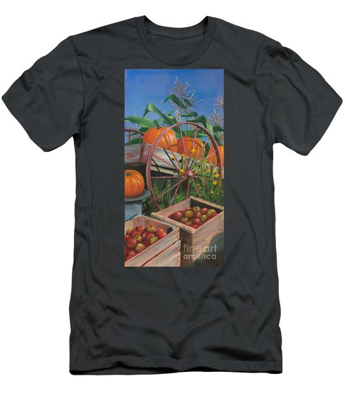 Men's T-Shirt (Slim Fit) featuring the painting Cartloads Of Pumpkins by Jeanette French