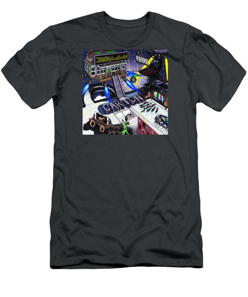 Men's T-Shirt (Slim Fit) featuring the drawing Carton Album Cover Artwork Front by Richie Montgomery