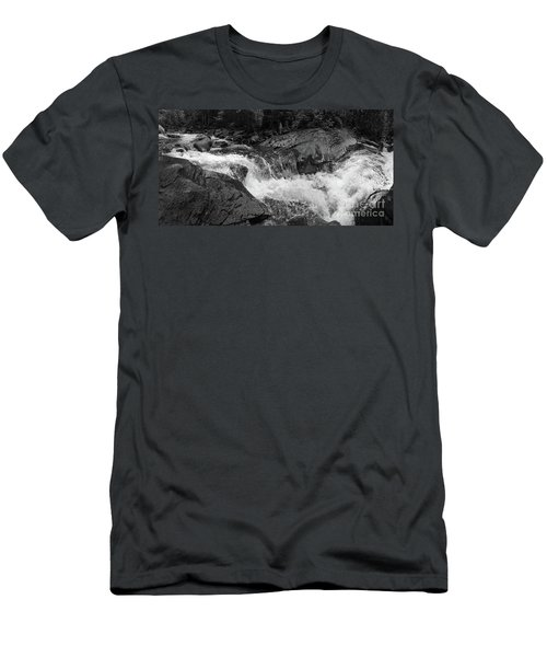 Cascade Stream Gorge, Rangeley, Maine  -70756-70771-pano-bw Men's T-Shirt (Athletic Fit)