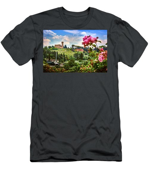 Castle And Roses In Firenze Men's T-Shirt (Athletic Fit)
