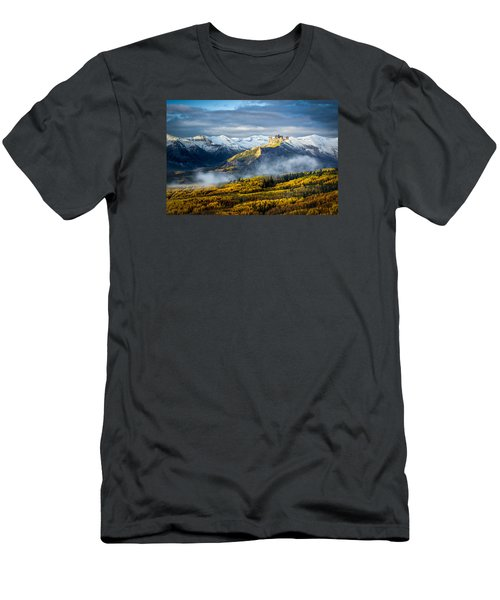 Men's T-Shirt (Slim Fit) featuring the photograph Castle In The Clouds by Phyllis Peterson
