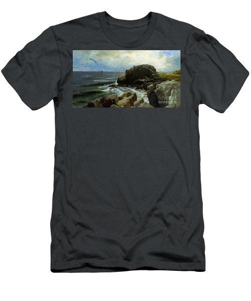Men's T-Shirt (Slim Fit) featuring the digital art Castle Rock - Marblehead by Lianne Schneider
