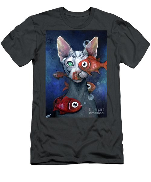 Cat And Fish Men's T-Shirt (Athletic Fit)