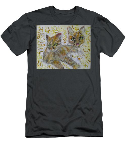Men's T-Shirt (Slim Fit) featuring the painting Cat Named Phoenicia by AJ Brown