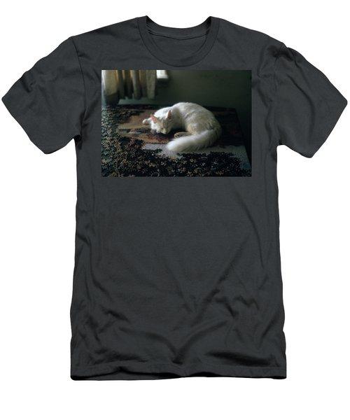 Cat On A Puzzle Men's T-Shirt (Athletic Fit)