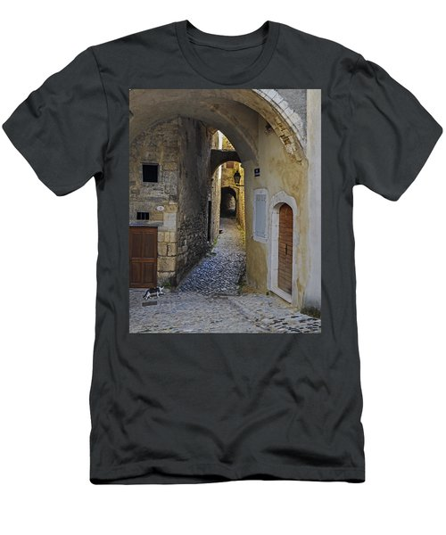 Men's T-Shirt (Slim Fit) featuring the photograph Cat On A Quiet Street In Viviers by Allen Sheffield
