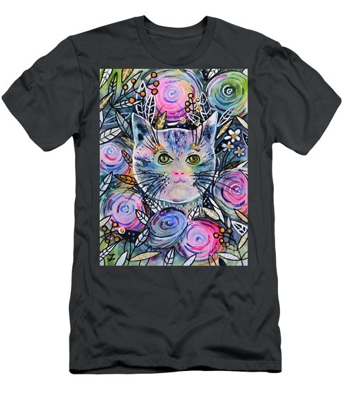 Men's T-Shirt (Athletic Fit) featuring the painting Cat On Flower Bed by Zaira Dzhaubaeva