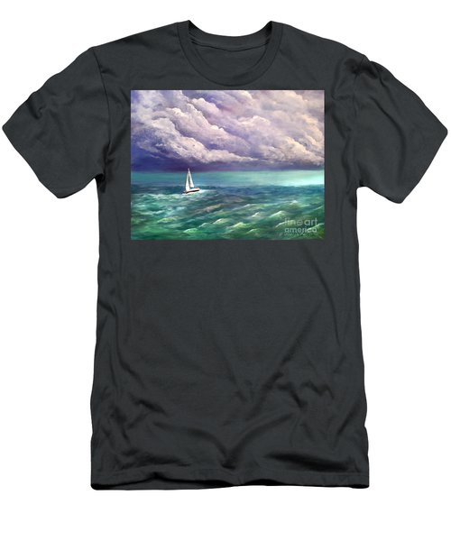Men's T-Shirt (Slim Fit) featuring the painting Tell The Storm by Patricia L Davidson