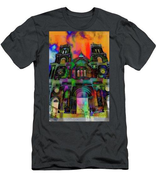 Men's T-Shirt (Slim Fit) featuring the photograph Catholic Church At Chordeleg, Ecuador by Al Bourassa