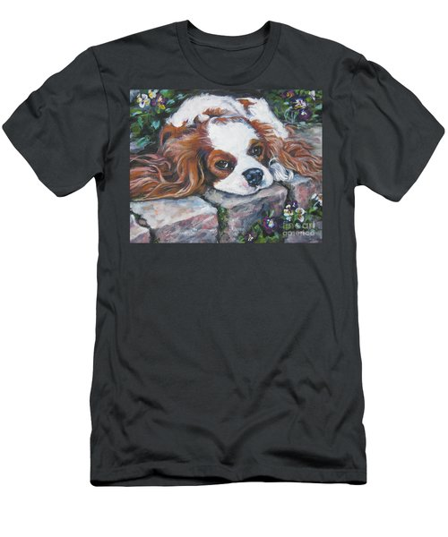 Cavalier King Charles Spaniel In The Pansies  Men's T-Shirt (Athletic Fit)