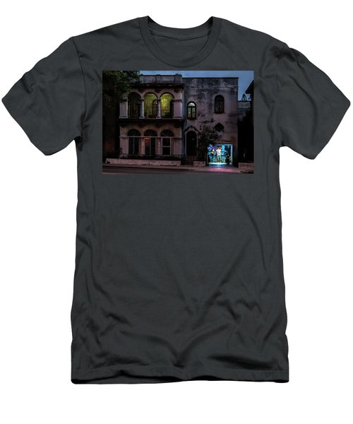 Men's T-Shirt (Athletic Fit) featuring the photograph Cell Phone Shop Havana Cuba by Charles Harden
