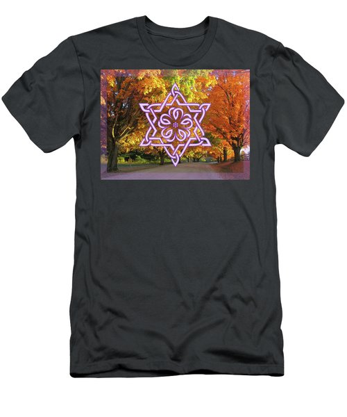 Celtic Hexagram Rose In Lavandar Men's T-Shirt (Athletic Fit)