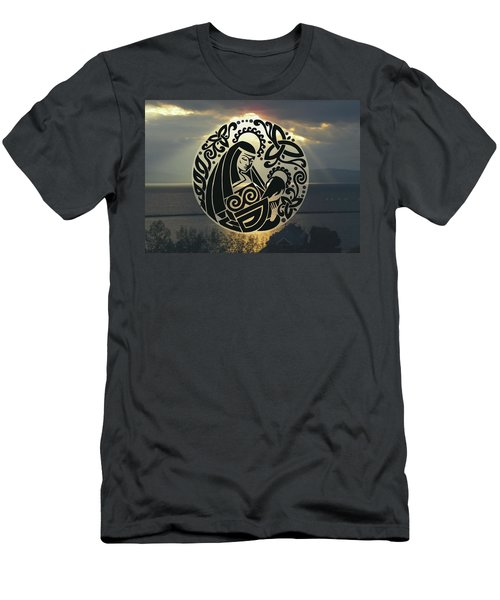 Celtic Madonna Over Sunset Men's T-Shirt (Athletic Fit)
