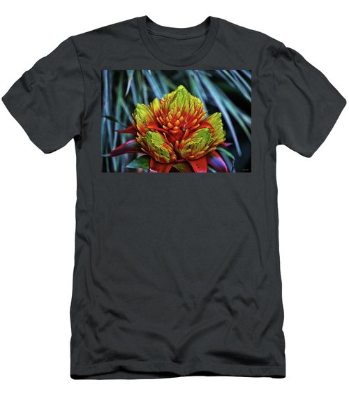 Men's T-Shirt (Slim Fit) featuring the photograph Centerpiece - Bromeliad 005 by George Bostian
