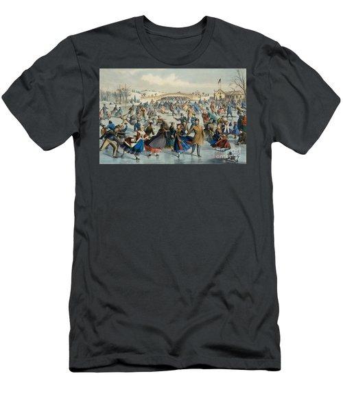 Central Park, Winter The Skating Pond, 1862 Men's T-Shirt (Athletic Fit)