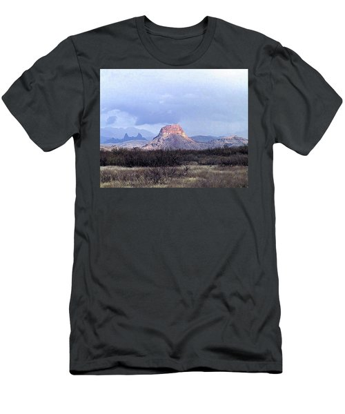 Men's T-Shirt (Slim Fit) featuring the painting Cerro Castellan And Mule Ears  by Dennis Ciscel